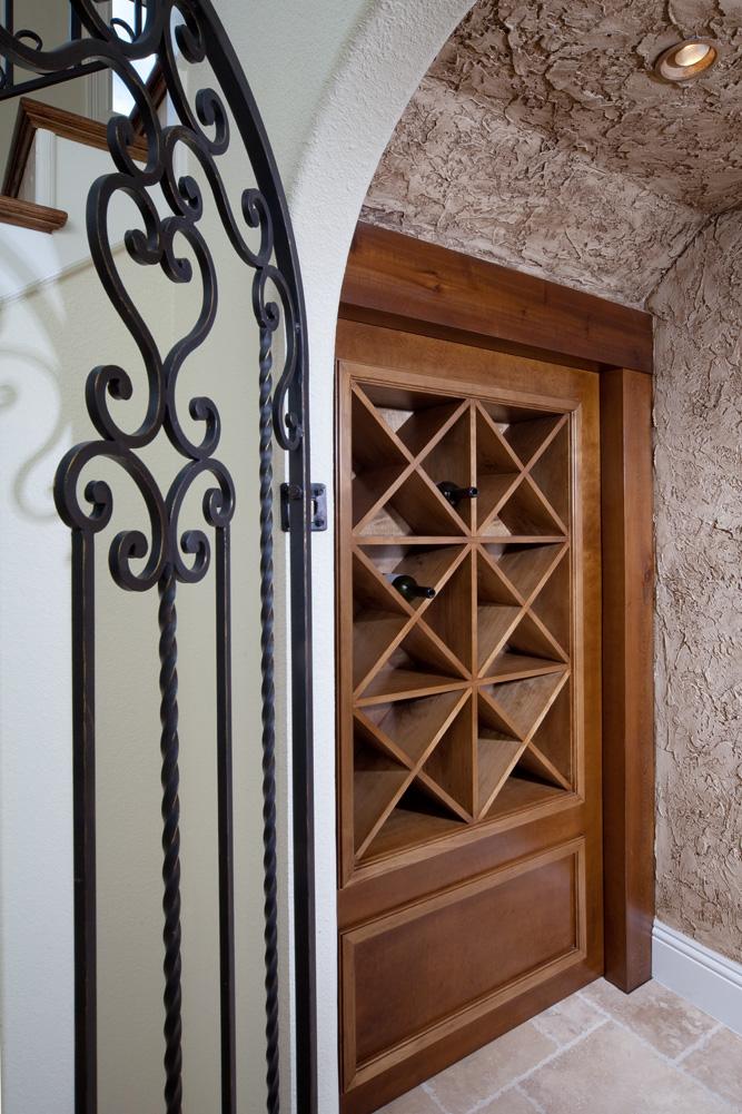 custom wooden wine rack built by Einheit custom home builders