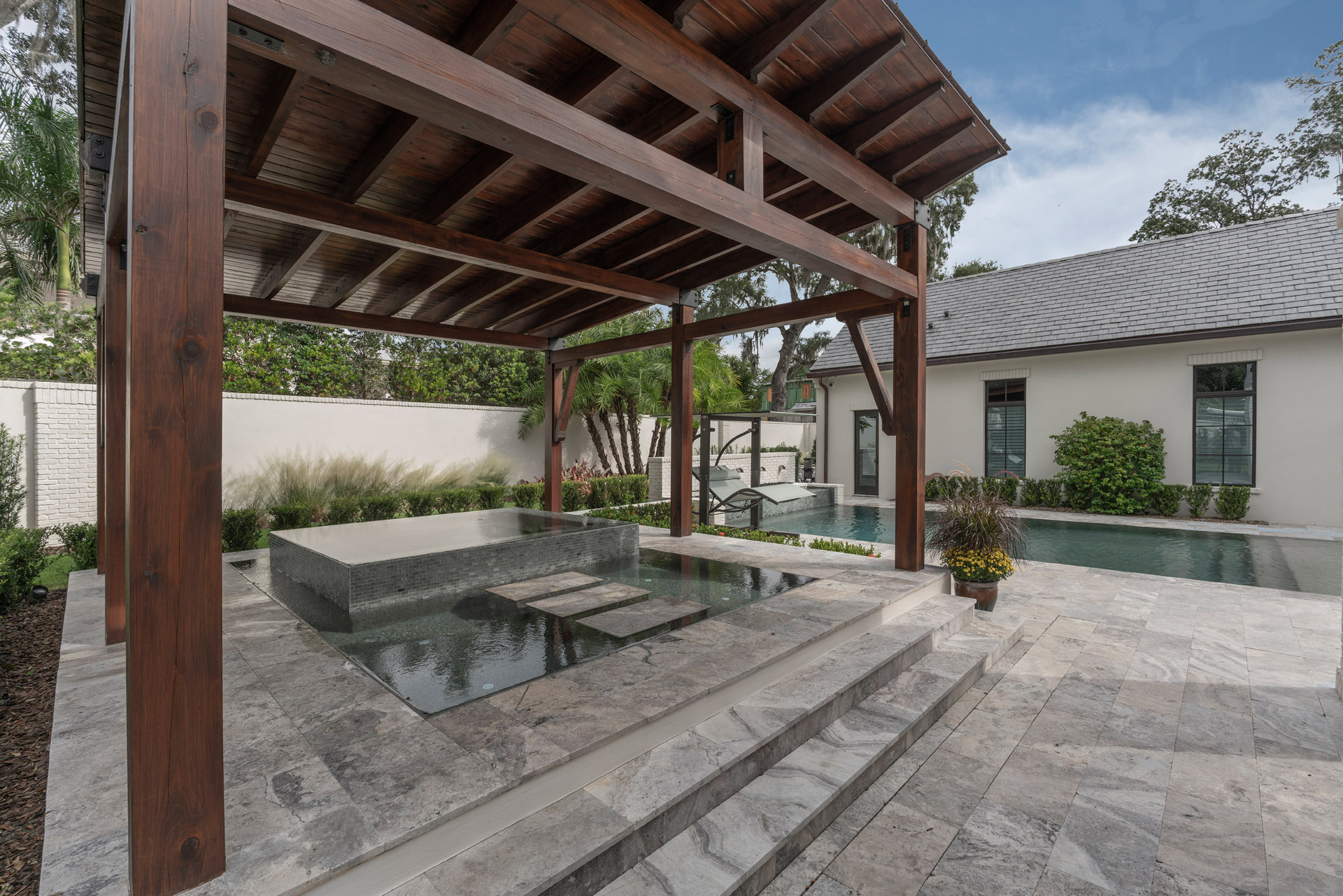 custom pool and gazebo built by Einheit Homes