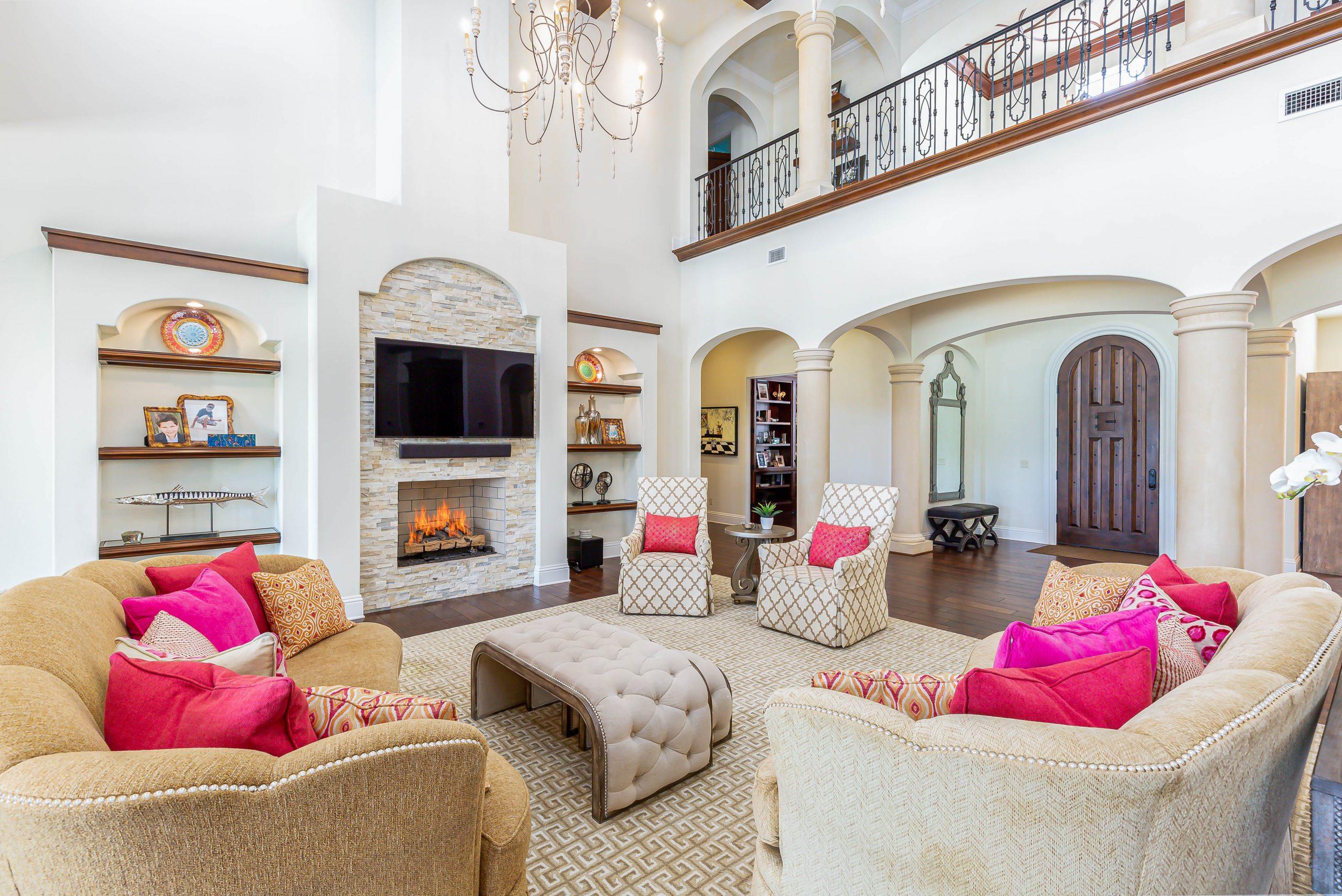 custom living room design in remodeled home by Einheit custom home builders