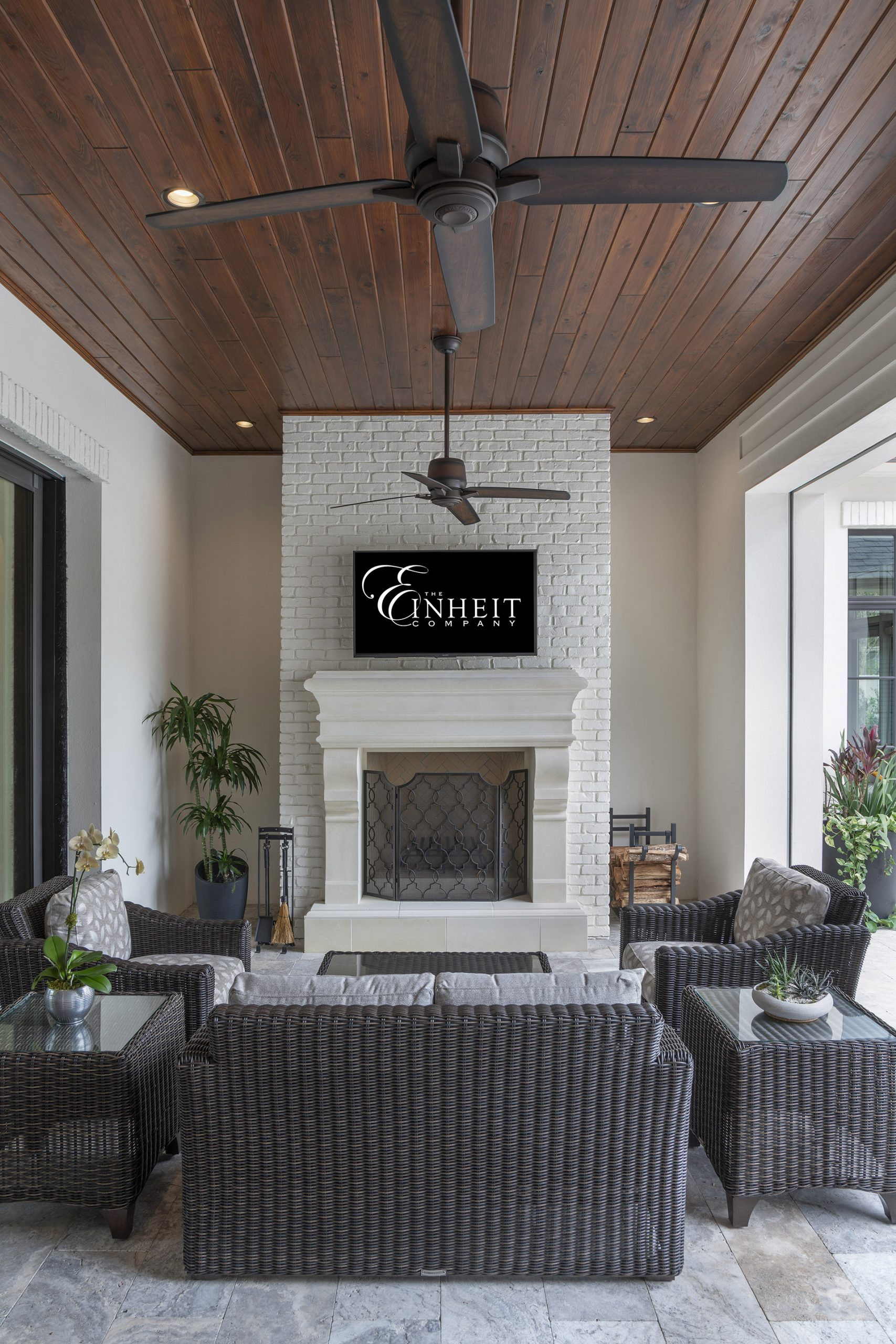 outdoor social space at custom home built by the Einheit Company in Orlando
