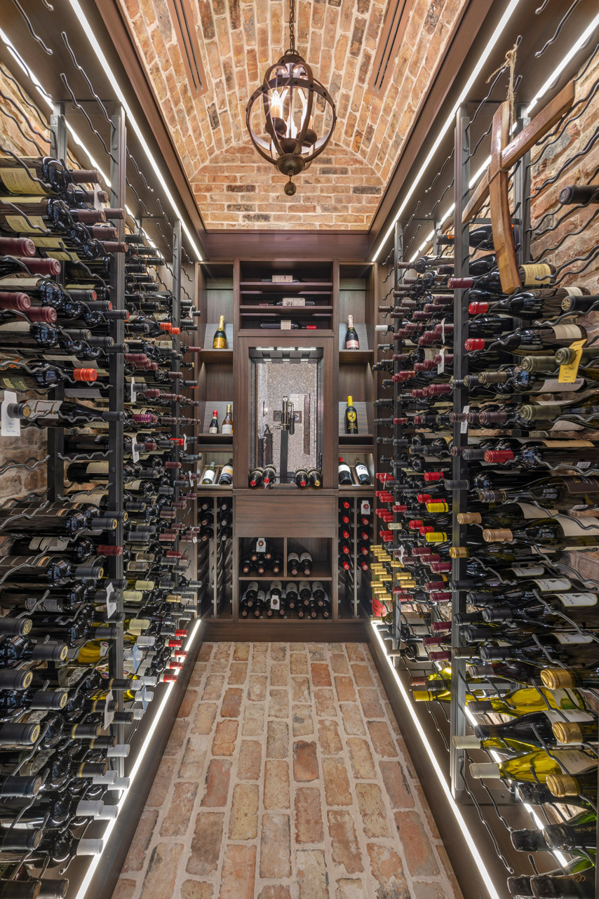 custom wine room designed and built by Einheit Homes